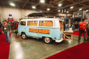 Caribiner Coffee's flagship 71' VW van named 'Ol Blue""
