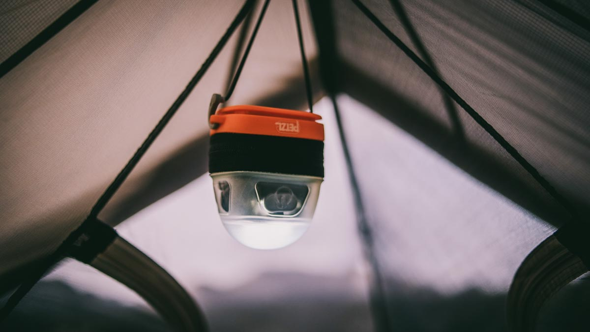 Using the Petzl Tikka in lantern mode hanging inside the tent